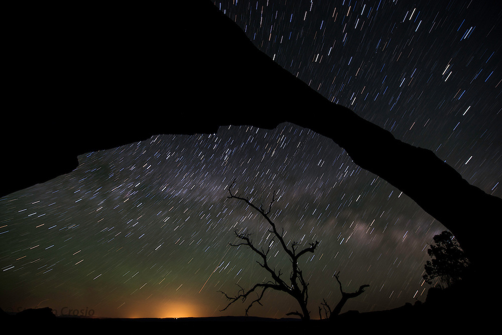 USA, Arches National Park (UT).Landscape Arch at night