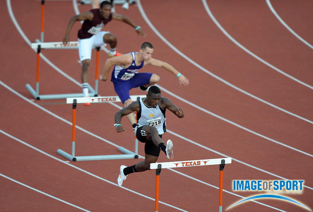 Mar 29, 2012; Austin, TX, USA; General view of a 400m hurdles heat in the 85th Clyde Littlefield Texas Relays at Mike A. Myers Stadium. From right: Ramiro Alvarez of Grambling and Brent Giddens of Northwestern and Jamel Sams of the University of Louisiana at Monroe.