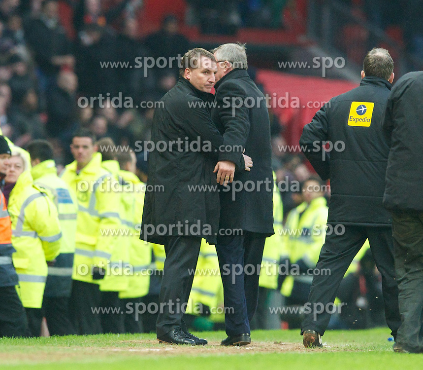 13.01.2013, Old Trafford, Manchester, ENG, Premier League, Manchester United vs FC Liverpool, 22. Runde, im Bild Liverpool's manager Brendan Rodgers and Manchester United's manager Alex Ferguson after his side's 2-1 defeat during the English Premier League 22th round match between Manchester United and Liverpool FC at Old Trafford, Manchester, Great Britain on 2013/01/13. EXPA Pictures © 2013, PhotoCredit: EXPA/ Propagandaphoto/ David Rawcliffe..***** ATTENTION - OUT OF ENG, GBR, UK *****