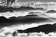 Aussicht vom Pilatus bei Nebel- und Wolkenstimmung an einem sch&ouml;nen Herbsttag. Blick &uuml;ber die Kuppen der beiden B&auml;che Grosse und Kleine Schliere.<br /> <br /> Panorama from the Mount Pilatus with fog and clouds on a sunny autumn day.
