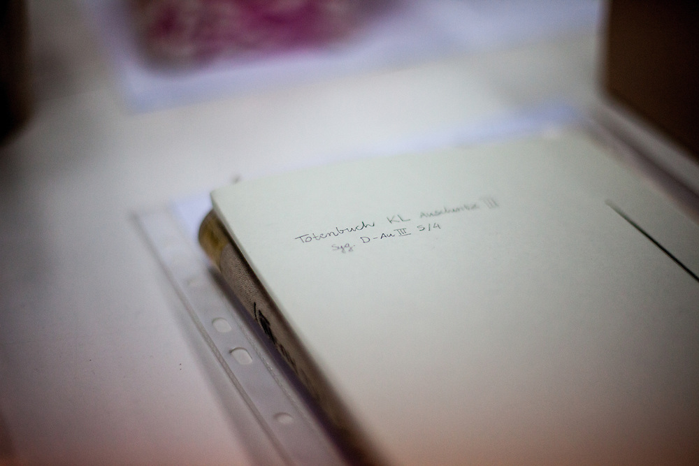 """A note saying """"death book"""" (in German: Sterbebuch or Totenbuch) at the Auschwitz  Museum Preservation lab for documents, books and other historical papers. The Museum Preservation Department is responsible for protecting everything that remains at the Auschwitz-Birkenau Concentration Camp site."""