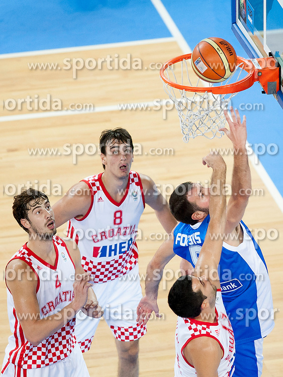 Yannis Bourousis #5 of Greece during basketball match between National teams of Croatia and Greece in 2nd Round at Day 13 of Eurobasket 2013 on September 14, 2013 in SRC Stozice, Ljubljana, Slovenia. (Photo By Urban Urbanc / Sportida)