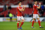 Double goal scorer Nottingham Forest forward Zach Clough (16) applauds the Forest fans after winning 3-0 during the EFL Sky Bet Championship match between Nottingham Forest and Brighton and Hove Albion at the City Ground, Nottingham, England on 4 March 2017. Photo by Jon Hobley.