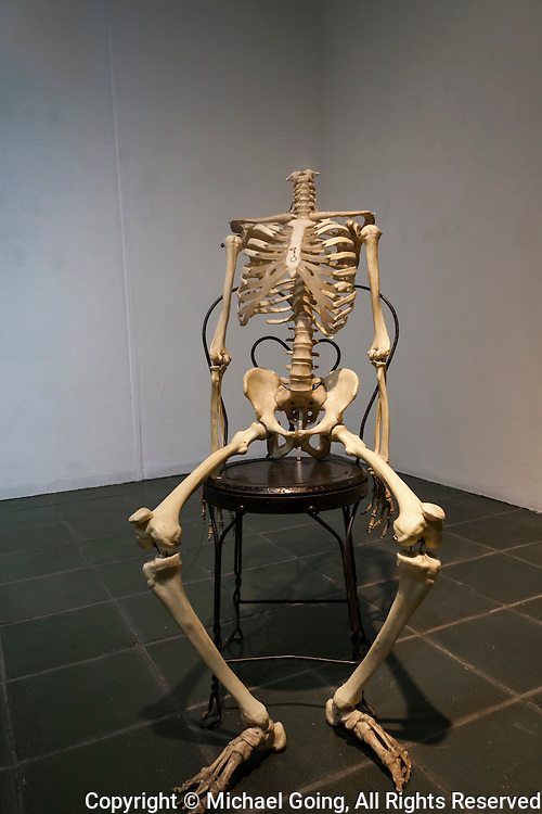 Human skeleton sitting on a metal chair in corner of a bare room