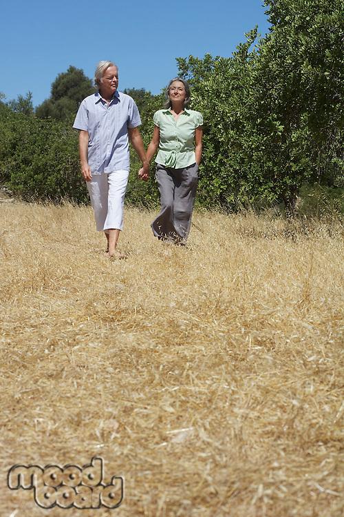 Senior couple on walk holding hands