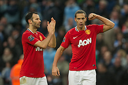 MANCHESTER, ENGLAND - Sunday, January 8, 2012: Manchester United's Rio Ferdinand celebrates his side's 3-2 victory over Manchester City during the FA Cup 3rd Round match at the City of Manchester Stadium. (Pic by David Rawcliffe/Propaganda)