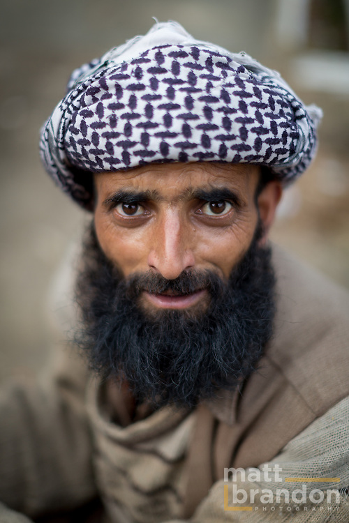 A Pahari Gujjar man with beard and turban. Aishmuqam, Kashmir, India