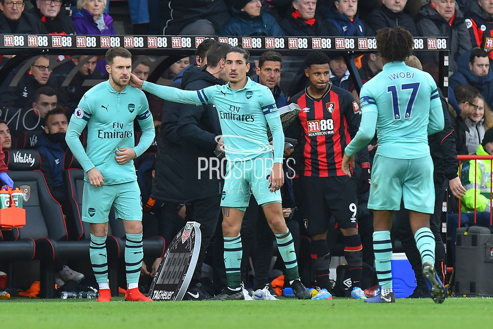 Substitution - Aaron Ramsey (8) of Arsenal replaces Alex Iwobi (17) of Arsenal during the Premier League match between Bournemouth and Arsenal at the Vitality Stadium, Bournemouth, England on 25 November 2018.