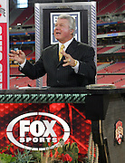 GLENDALE, AZ - JANUARY 8:  Jimmy Johnson makes a point during the FOX Sports television broadcast of the Ohio State Buckeyes game against the Florida Gators at the 2007 Tostitos BCS National Championship Game at the University of Phoenix Stadium on January 8, 2007 in Glendale, Arizona. The Gators defeated the Buckeyes 41-14. ©Paul Anthony Spinelli *** Local Caption *** Jimmy Johnson