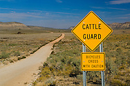 Warning sign for bicycles about cattle guard next to dirt road through high desert plateau, Grand Canyon Parashant National Monument, Arizona