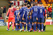 Hearts players shake hands with the officials ahead of the Ladbrokes Scottish Premiership match between Motherwell and Heart of Midlothian at Fir Park, Motherwell, Scotland on 17 February 2019.