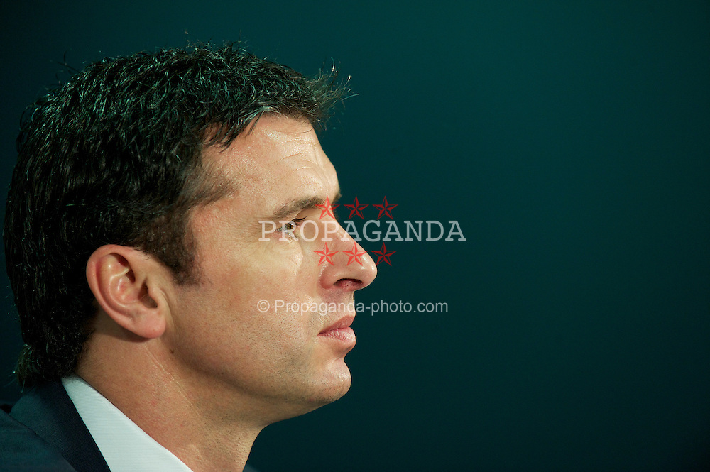 CARDIFF, WALES - Wednesday, January 12, 2011: Wales' new manager Gary Speed during a press conference to announce that British car manufacturer Vauxhall is to become the official leading sponsorship partner to the Wales international football teams, at Cardiff City Stadium. (Pic by: David Rawcliffe/Propaganda)