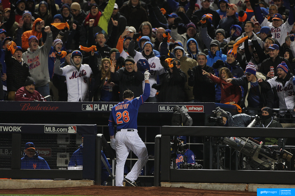 Daniel Murphy, New York Mets, receives a curtain call from fans after hitting a home run during the MLB NLCS Playoffs game two, Chicago Cubs vs New York Mets at Citi Field, Queens, New York. USA. 18th October 2015. Photo Tim Clayton