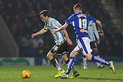 Shrewsbury Town FC midfielder Shaun Whalley wins the ball in midfield during the Sky Bet League 1 match between Chesterfield and Shrewsbury Town at the Proact stadium, Chesterfield, England on 2 January 2016. Photo by Aaron Lupton.