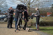 © Licensed to London News Pictures. 01/04/2015. Abingdon, UK. Theresa May gives a TV interview.  Home secretary, Theresa May and Nicola Blackwood, Parliamentary candidate for Abingdon visit Abingdon Police Station today following recent arrests for human exploitation, slavery and fraud. . Photo credit : Stephen Simpson/LNP