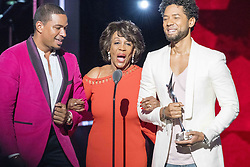 August 6, 2017 - New Jersey, U.S - LAZ ALONZO, and JUSSIE AMOLLETT,and recipient of the Social Humanitarian award, Congresswoman MAXINE WATERS,  at the 2017 Black Girls Rock awards show. Black Girls Rock 2017 was held at the New Jersey Performing Arts Center in Newark New Jersey. (Credit Image: © Ricky Fitchett via ZUMA Wire)
