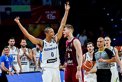 Anthony Randolph of Slovenia and Davis Bertans of Latvia during basketball match between National Teams of Slovenia and Latvia at Day 13 in Round of 16 of the FIBA EuroBasket 2017 at Sinan Erdem Dome in Istanbul, Turkey on September 12, 2017. Photo by Vid Ponikvar / Sportida