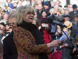 Joanne David the wife of actor Edward Fox  at The UK's first statue of Charles Dickens  which was unveiled in Portsmouth,Hampshire,UK Friday, 7th February 2014. Picture by i-Images