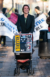 © Licensed to London News Pictures. 11/02/2019. London, UK. Lauri Love arrives at Hendon Magistrates' Court. Love, an alleged hacker, is using the 'Police (Property) Act of 1897' to seek the return of his computers which were seized by police over five years ago. Last year, The High Court blocked Love's extradition to the United States. Photo credit : Tom Nicholson/LNP