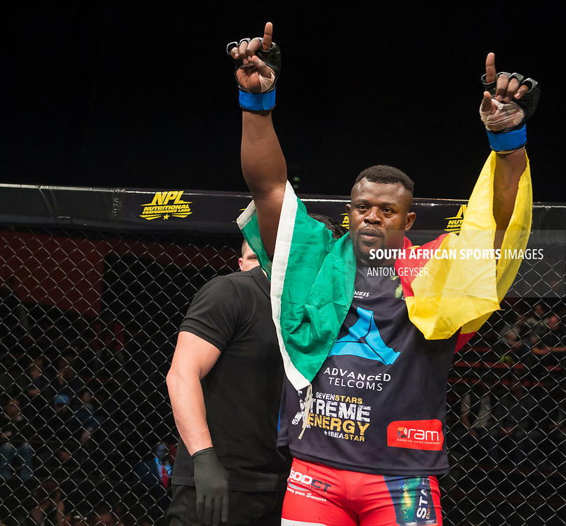 JOHANNESBURG, SOUTH AFRICA - MAY 13: Nico Yamdjie celebrates after defeating during EFC 59 Fight Night at Carnival City on May 13, 2017 in Johannesburg, South Africa. (Photo by Anton Geyser/EFC Worldwide/Gallo Images)