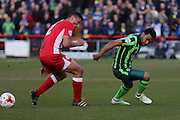 Andy Barcham midfielder for AFC Wimbledon (17) and Matty Pearson defender Accrington Stanley (2) during the Sky Bet League 2 play-off 2nd leg match between Accrington Stanley and AFC Wimbledon at the Fraser Eagle Stadium, Accrington, England on 18 May 2016. Photo by Stuart Butcher.