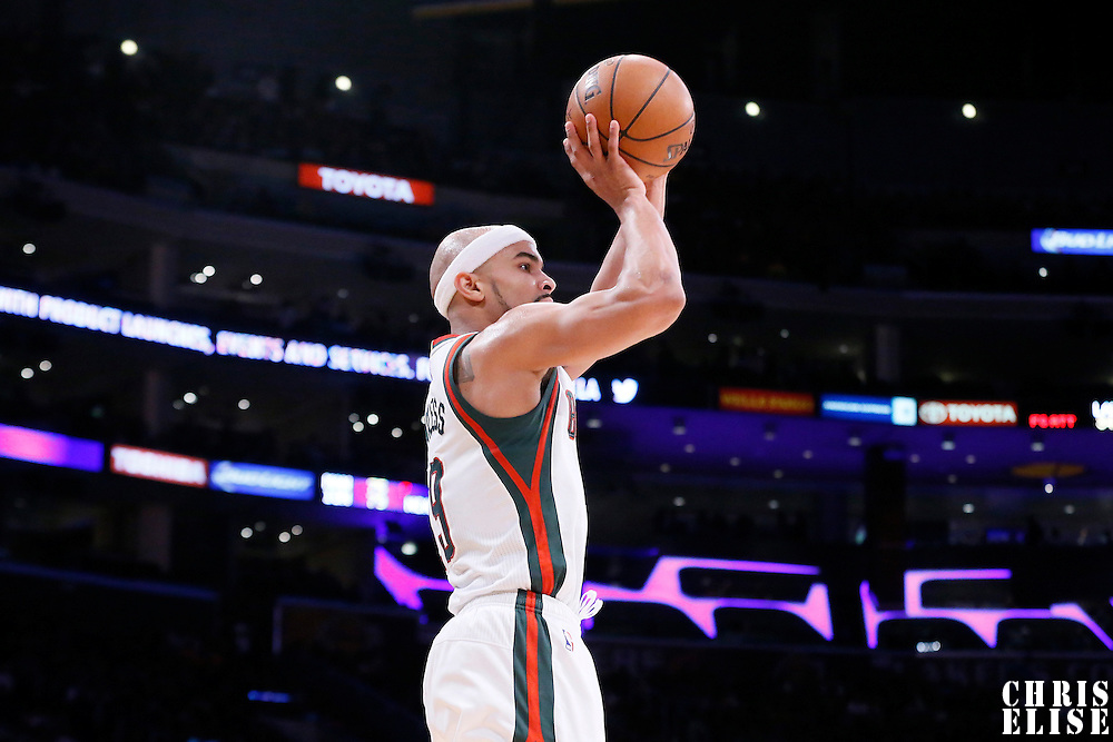 27 February 2015: Milwaukee Bucks guard Jerryd Bayless (19) takes a jump shot during the Los Angeles Lakers 101-93 victory over the Milwaukee Bucks, at the Staples Center, Los Angeles, California, USA.