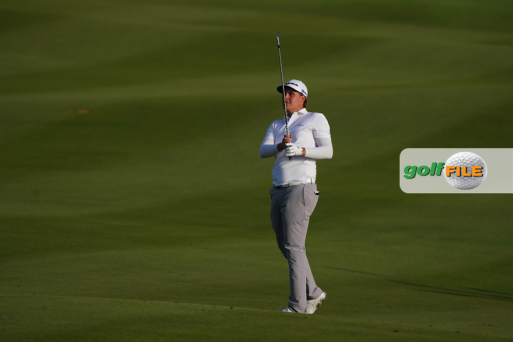 Sami Valimaki (FIN) during the play-off on the 18th for the 3rd Play Off hole during Round 4 of the Oman Open 2020 at the Al Mouj Golf Club, Muscat, Oman . 01/03/2020<br /> Picture: Golffile | Thos Caffrey<br /> <br /> <br /> All photo usage must carry mandatory copyright credit (© Golffile | Thos Caffrey)