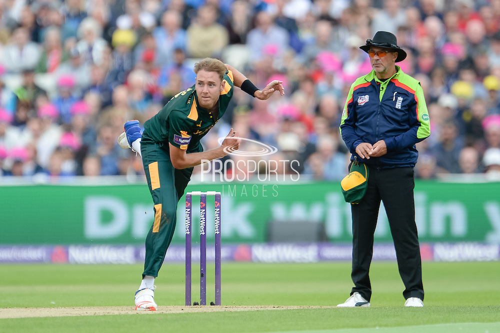 Stuart Broad of Notts Outlaws bowling during the NatWest T20 Blast Semi Final match between Nottinghamshire County Cricket Club and Northamptonshire County Cricket Club at Edgbaston, Birmingham, United Kingdom on 20 August 2016. Photo by David Vokes.