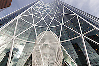 The Bow Building in downtown Calgary is an impressive sight from all angles. And it has a really cool sculpture of a head at it's base. The sculputre is actually called Wonderland.<br /> <br /> ©2014, Sean Phillips<br /> http://www.RiverwoodPhotography.com