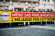 Deputati del Movimento 5 Stelle festeggiano l'approvazione della riforma costituzionale che prevede il taglio dei parlamentari. Roma 08 Febbraio 2019. Christian Mantuano / OneShot