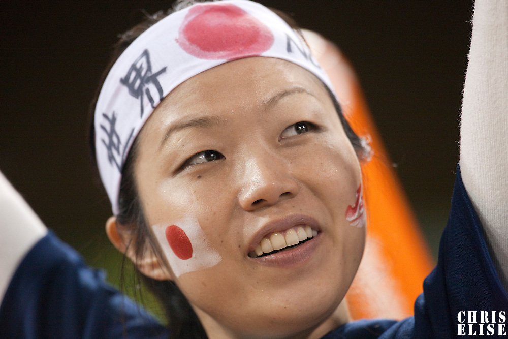17 March 2009: A fan cheers for Team Japan during the 2009 World Baseball Classic Pool 1 game 4 at Petco Park in San Diego, California, USA. Korea wins 4-1 over Japan.