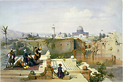 Mosque of Omar, shewing the site of the Temple' c1840.  After David Roberts (1796-1864) Scottish Artist. Muslim men at prayer on prayer rugs, guarded by man with gun. Palestine Jerusalem Ruin Religion Islam