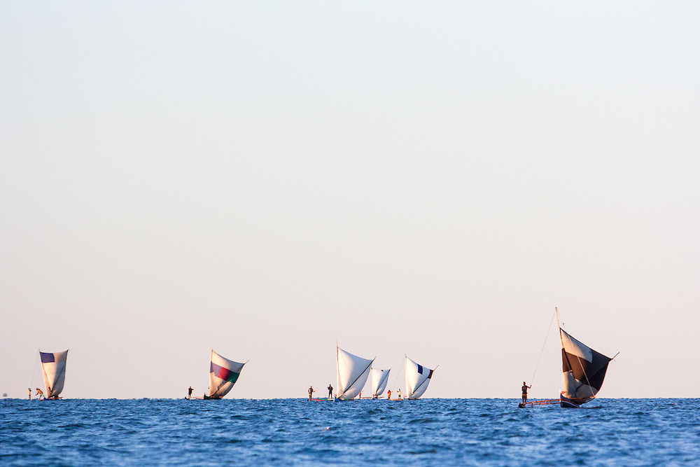 A group of traditional fishers sailing northwards on their annual migration.  The journey will take them from the protected lagoons and sheltered beaches of southwest Madagascar across exposed seas with oceanic swells; and along a coastline where the breaking surf makes it difficult to land their sailing canoes.  They use an intimate knowledge of the coast, winds and currents to navigate - often well beyond the sight of land and at night.