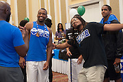 Members of Phi Beta Sigma goof around during the Multicultural Student Expo and Involvement Fair. Photo by Olivia Wallace