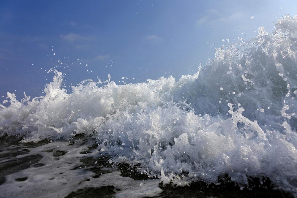 close up of beach waves in Sri Lanka