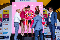 August 4, 2018 - Krakow, Poland - Michal Paluta receives a special premium during the first stage of Tour the Pologne in Krakow, Poland on August 4, 2018. (Credit Image: © Dominika Zarzycka/NurPhoto via ZUMA Press)