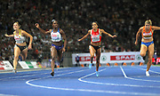 Dina Asher-Smith (GBR), second from left, wins the women's 100m in 10.85 in the European Championships in Berlin, Germany, Tuesday August 7, 2018. From left: Gina Luckenkemper (GER), Asher-Smith, Mujinga Kambundji (SUI) and Dafne Schippers (NED). Luckenkemper was second in a European U23 record 10.08. Schippers was third in 10.00 and Kambundji was fourth in 11.05. (Jiro Mochizuki/Image of Sport)
