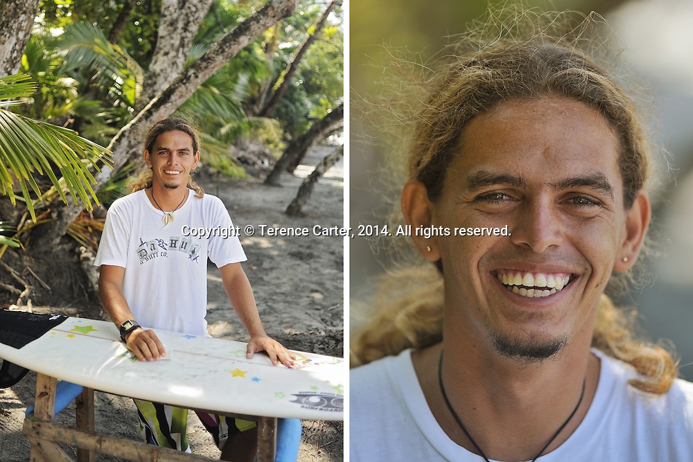 Surf Instructor, Ivan Castillo, Manuel Antonio, Costa Rica. Copyright 2014 Terence Carter / Grantourismo. All Rights Reserved.