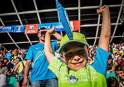 Young fan of Slovenia during football match between National teams of Slovenia and Malta in Round #6 of FIFA World Cup Russia 2018 qualifications in Group F, on June 10, 2017 in SRC Stozice, Ljubljana, Slovenia. Photo by Vid Ponikvar / Sportida