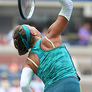 Victoria Azarenka, Belarus, in action against Simona Halep, Romania, in the Women's Singles Quarterfinals match during the US Open Tennis Tournament, Flushing, New York, USA. 9th September 2015. Photo Tim Clayton