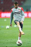 Poland's Robert Lewandowski kicks the ball while warm-up during official training one day before the EURO 2016 qualifying match between Poland and Germany on October 10, 2014 at the National stadium in Warsaw, Poland<br /> <br /> Picture also available in RAW (NEF) or TIFF format on special request.<br /> <br /> For editorial use only. Any commercial or promotional use requires permission.<br /> <br /> Mandatory credit:<br /> Photo by © Adam Nurkiewicz / Mediasport