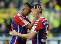 Fotball<br /> Tyskland<br /> 04.04.2015<br /> Foto: Witters/Digitalsport<br /> NORWAY ONLY<br /> <br /> 0:1 Jubel v.l. Jerome Boateng, Torschuetze Robert Lewandowski (Bayern)<br /> <br /> Fussball Bundesliga, Borussia Dortmund - FC Bayern München