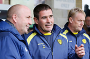 Burton Albion manager Nigel Clough and Accrington Stanley Manager John Coleman during the EFL Sky Bet League 1 match between Accrington Stanley and Burton Albion at the Fraser Eagle Stadium, Accrington, England on 8 September 2018.
