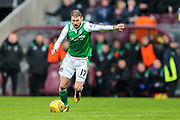 Martin Boyle (#17) of Hibernian prepares to shoot during the William Hill Scottish Cup 4th round match between Heart of Midlothian and Hibernian at Tynecastle Stadium, Gorgie, Scotland on 21 January 2018. Photo by Craig Doyle.