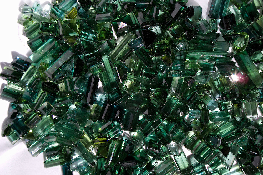 Polished emeralds from the mines of the Panjshir mountains. Kabul, Afghanistan on the 31st of October 2008.