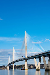 Daytime view of the new Queensferry Crossing spanning the Firth of Forth, Scotland, United Kingdom.