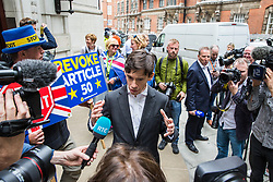 London, UK. 19 June, 2019. Conservative party leadership candidate is interviewed in Westminster on the morning of the third ballot for the Conservative Party leadership. The candidate with the lowest number of votes will be eliminated.