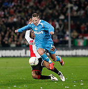 Nederland, Rotterdam, 12 januari 2008.Eredivisie.Seizoen 2007-2008.Feyenoord-PSV (0-1).Balazs Dzsudzsak van PSV (r) in wint het duel van Serginho Greene (l) van Feyenoord.