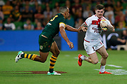 John Bateman of England tries to get past William Chambers of Australia during the Rugby League World Cup match between Australia and England at Melbourne Rectangular Stadium, Melbourne, Australia on 27 October 2017. Photo by Mark  Witte.
