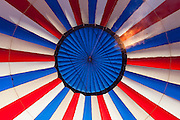 Interior of hot air balloon at annual Red Rock Balloon Rally, Gallup, New Mexico.